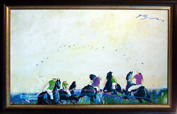 Earl Biss Original Oil Painting on Canvas POLO 1982 Fine Art LISTED ARTIST