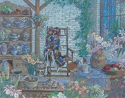 John Powell Interior With Chair Serigraph Signed Numbered Framed
