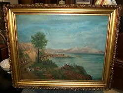 Antique Oil Painting On Canvas - Sea Port Town - Joanne Hughes - 1917