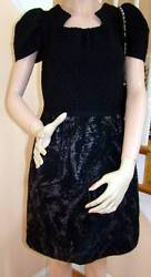 New With Tags 11a Black Wool Knit Dress With Empire Sleeve 40