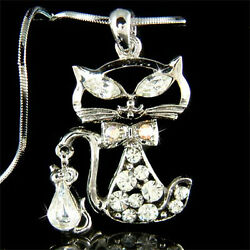 Kitty Cat Mouse Made With Crystal Cute Kitten Rat Charm Chain Necklace