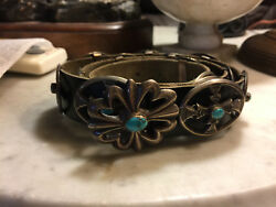 Navajo Turquoise Rare Sandcast Sterling Silver Concho Belt On Black Leather