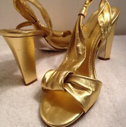 DVF Diane von Furstenberg Gold Designer Metallic Platform Sandals shoes 9 $129.00