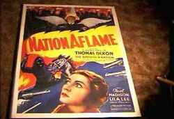 Nation Aflame 1937 Orig Movie Poster Birth Of Nation Related Thomas Dixon Linen