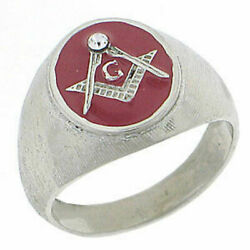Masonic Mason Silver 316 Stainless Steel Red Ring Size 8,9,10,11,12,13,14,15