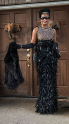 New Cd Greene Nude And Black Jeweled Mesh Leather And Feather Dress Gown 4-6 12000