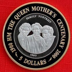 2000 Cook Is Large Silver/goldpl.proof Bi-metal 5- Queen Mother 100-family