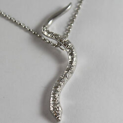 Solid 18k White Gold Snake Pendant With Diamonds Ct 0.27 Necklace Made In Italy