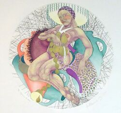 Guillaum Azoulay Aquarius Signed Original Color Etching On Paper Submit Offer