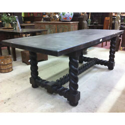 Solid Rosewood Wood Barley Twist Dining Table Customizable Limited Available
