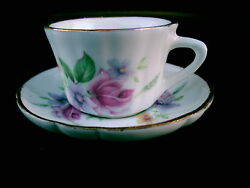 Golden Crown E And R 1.5 Mini Tea Cup And Saucer Roses Canada Nice Replacement