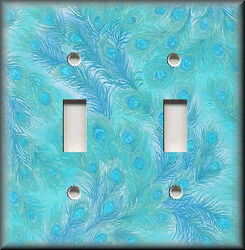 Metal Light Switch Plate Cover - Swirling Peacock Feathers Aqua Blue Home Decor