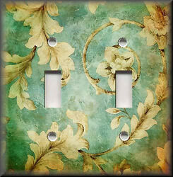 Metal Light Switch Plate Cover - Vintage Floral Antique Mint Green Boho Decor