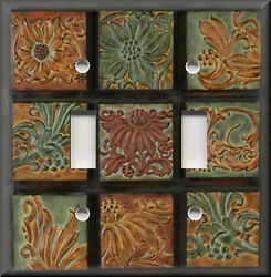 Metal Light Switch Plate Cover - Tuscan Home Decor Tuscan Tones Floral Mosaic