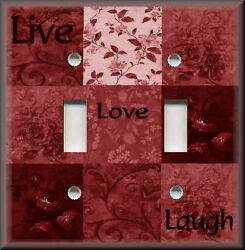 Metal Light Switch Plate Cover - Live Love Laugh Home Decor Red Floral Decor