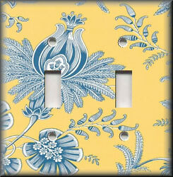 Metal Light Switch Plate Cover - Blue And Yellow Floral Toile Home Decor