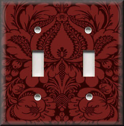 Metal Light Switch Plate Cover - Floral Damask Home Decor Red Damask Design