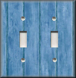Metal Light Switch Plate Cover - Image Of Rustic Barn Wood Blue Home Decor Blue