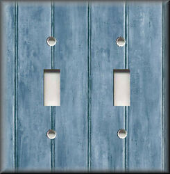 Metal Light Switch Plate Cover - Image Of Rustic Barn Wood Grey Blue Home Decor