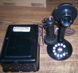 Western Electric 51al Wired To Metal Ringer Box With 2 Clicky Dial Telephone