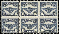 Stamps Block Of Six Scott C5 16andcent Air Mail Stamps