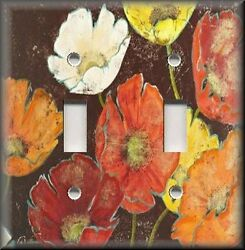Metal Light Switch Plate Cover - Orange Brown Poppy Flowers Floral Home Decor