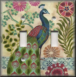 Metal Light Switch Plate Cover - Peacock Decor Bird Floral Medallions Decor