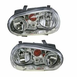 Front Headlights Headlamps Lights Lamps Lh And Rh Pair Set For 02-07 Vw Golf