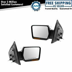 Mirrors Power Heated Memory Fold Puddle Light Chrome Pair Set for 09-10 F150
