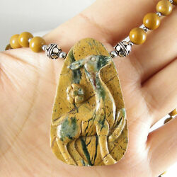 Hand Carved Natural Green Canyon Jasper Deer Pendant Yellow Mookaite Necklace