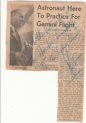RARE 1964 Neil Armstrong superscribed newspaper article Australia Gemini flight