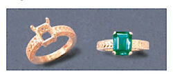 7x5-18x13mm 14kt White Or Yellow Gold Emerald Engraved Ring Setting Sz 6-8