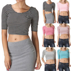 Half Sleeve Thin Striped Scoop Neck and Back Cropped Top Cute and Sexy S M L $6.99