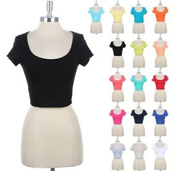 Cotton Scoop Neck Crop Top Short Sleeve Cute Sexy Stylish Simple Spandex S M L $7.99