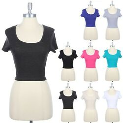 Girls Scoop Neck Short Sleeve Cropped CROP Top Fitted Cute Sexy Cotton S M L $7.99