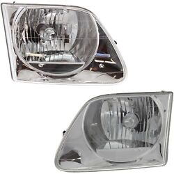 97-03/02 Replacement Headlight For Ford F150 Lightning Svt/expedition Pair +bulb