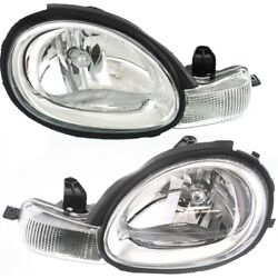Headlight Set For 2000-2002 Dodge Neon Left And Right Chrome Interior 2pc