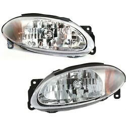Headlight Set For 98-2003 Ford Escort Coupe Left and Right With Bulb 2Pc