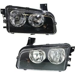 Headlight Set For 2007-2010 Dodge Charger Left And Right With Bulb 2pc