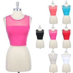 Cotton Sleeveless Cropped Top with Sheer Mesh Yoke Upper Body Cute Sexy S M L $9.99