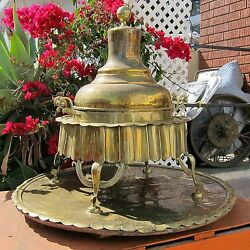 Mangal Antique C.1850 Traditional Turkish Heater Brass And Copper Baggage Battles
