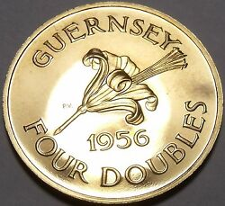 Extremely Rare Large Proof Guernsey 1956 4 Doubles2100 Mintedawesomefree Shi