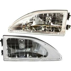 Headlight Set For 94-98 Ford Mustang Left and Right Crystal With Bulb 2Pc