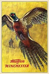 1950s Western Winchester Pheasant Hunting Vintage Style Poster - 16x24
