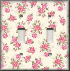 Metal Light Switch Plate Cover - Pink Mini Roses Shabby Chic Home Decor Floral