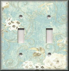 Metal Light Switch Plate Cover - Floral Swirling White Roses Shabby Chic Decor