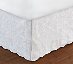 White Quilted Twin Full Queen King Bedskirt Cottage Paisley Bed Skirt Ruffle