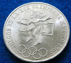 1968 Mexico Large Silver 25 Pesos-olympics-indian-eagle/w Snake