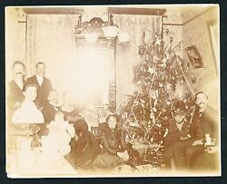 1890's Victorian Christmas Vintage Photo, Tree, Toys, Doll, Decorations Etc