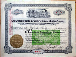 1906 Stock Certificate And039transcontinental Transportation And Mining Coand039 - Colorado
